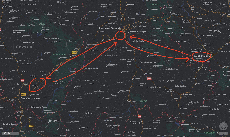 Carte de France itinéraire Saint-Etienne, Clermont, Tulles et retour
